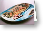 Color Ceramics Greeting Cards - Salish Fish Platter Greeting Card by Susan Bornstein