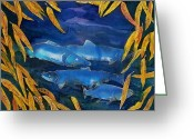 Ocean Tapestries - Textiles Greeting Cards - Salmon and Willow Greeting Card by Carolyn Doe