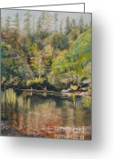 Washington Pastels Greeting Cards - Salmon Fishing Along the Skokomish River Greeting Card by Terri Thompson