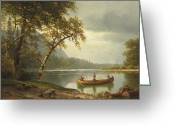 Anglers Greeting Cards - Salmon fishing on the Caspapediac River Greeting Card by Albert Bierstadt