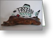 Black Glass Art Greeting Cards - Salmon No1 Greeting Card by Mark Lubich
