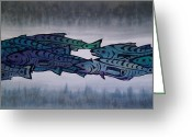 Fish Tapestries - Textiles Greeting Cards - Salmon Passing Greeting Card by Carolyn Doe