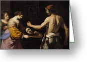 Guercino Greeting Cards - Salome Receiving the Head of St John the Baptist Greeting Card by Giovanni Francesco Barbieri