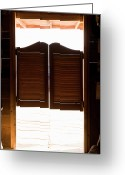 Sunlight Greeting Cards - Saloon Doors Greeting Card by Adam Burn