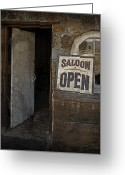 Establishment Greeting Cards - Saloon Open Greeting Card by John Stephens