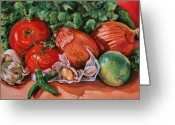 Vegetables Pastels Greeting Cards - Salsa Greeting Card by Outre Art Stephanie Lubin Natalie Eisen