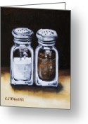 Spice Painting Greeting Cards - Salt and Pepper Greeting Card by Kristina Steinbring