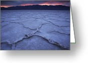 Silhouettes Greeting Cards - Salt Flats At Badwater Basin Greeting Card by Michael Melford