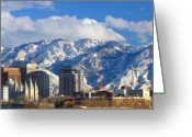 Snow Capped Photo Greeting Cards - Salt Lake City Skyline Greeting Card by Utah Images