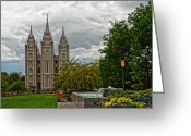 Salt Lake City Temple Photo Greeting Cards - Salt Lake City Temple Grounds Greeting Card by La Rae  Roberts