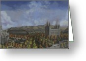Salt Lake City Temple Painting Greeting Cards - Salt Lake City Temple Square Nineteen Twelve  Greeting Card by Jeff Brimley