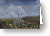 Salt Lake City Temple Painting Greeting Cards - Salt Lake City Temple Square Nineteen Twelve Left Panel Greeting Card by Jeff Brimley