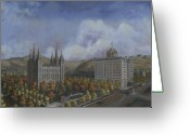 Salt Lake City Temple Painting Greeting Cards - Salt Lake City Temple Square Nineteen Twelve Right Panel Greeting Card by Jeff Brimley
