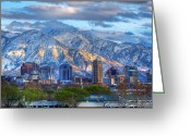 Snowy Range Greeting Cards - Salt Lake City Utah USA Greeting Card by Utah Images