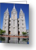 Angel Moroni Greeting Cards - Salt Lake Mormon Temple Greeting Card by Gary Whitton