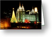 Mormon Temple Photography Greeting Cards - Salt Lake Temple Christmas Tree Greeting Card by La Rae  Roberts