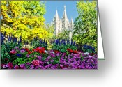 Mormon Temple Photography Greeting Cards - Salt Lake Temple Petunia Greeting Card by La Rae  Roberts