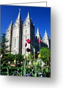 Angel Moroni Greeting Cards - Salt Lake Temple Greeting Card by Robert Gallup