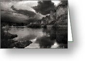 Black Mesa Greeting Cards - Salt River Stormy Black and White Greeting Card by Dave Dilli