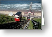 Overhead Greeting Cards - Saltburn Funicular Railway Greeting Card by Ken Fisher Photography and Training
