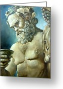 Greek Sculpture Painting Greeting Cards - Salutations from Bacchus Greeting Card by Geraldine Arata