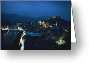 City Lights And Lighting Greeting Cards - Salzburg, Austria, Night View Greeting Card by George F. Mobley