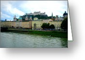 Colorful Buildings Greeting Cards - Salzburg over the Danube Greeting Card by Carol Groenen