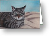 Animal Portrait Pastels Greeting Cards - Sam Greeting Card by Anastasiya Malakhova