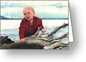 Log Greeting Cards - Sam and The Log Greeting Card by Sam Sidders