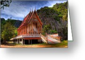 Buddhist Digital Art Greeting Cards - Sam Roi Yot Temple Greeting Card by Adrian Evans