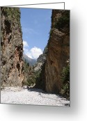 Crete Greeting Cards - Samaria Gorge Greeting Card by Jane Rix