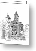 Eagle Drawings Greeting Cards - Samford Hall Greeting Card by Barney Hedrick