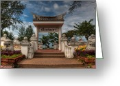 Temple Digital Art Greeting Cards - Samila Garden Greeting Card by Adrian Evans