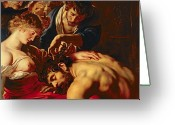 Chest Greeting Cards - Samson and Delilah Greeting Card by Rubens