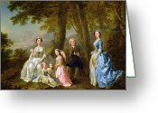 Posh Painting Greeting Cards - Samuel Richardson seated with his family Greeting Card by Francis Hayman