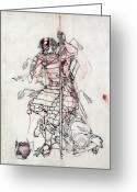 Wounded Warrior Greeting Cards - Samurai Drinking Sake Greeting Card by Granger