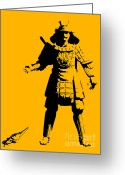 Street Art Greeting Cards - Samurai fail Greeting Card by Pixel Chimp
