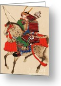 Armor Greeting Cards - Samurai On Horseback Greeting Card by Pg Reproductions