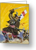 Swordsman Greeting Cards - Samurai Warriors Greeting Card by English School