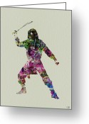 Geisha Greeting Cards - Samurai with a sword Greeting Card by Irina  March