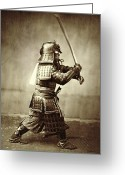 Swordsman Greeting Cards - Samurai with raised sword Greeting Card by F Beato