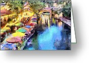 Walkways Greeting Cards - San Antonio River Walk Greeting Card by Anthony Caruso