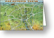 San Antonio Map Greeting Cards - San Antonio Texas Cartoon Map Greeting Card by Kevin Middleton