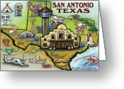 San Antonio Map Greeting Cards - San Antonio Texas Greeting Card by Kevin Middleton
