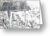 Workers Drawings Greeting Cards - San Blas Nayarit Mexico Greeting Card by Bill Joseph  Markowski