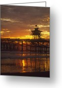 Clemente Greeting Cards - San Clemente Lifeguard tower and pier at sunset Greeting Card by Cliff Wassmann