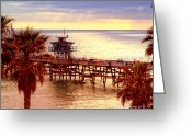 Clemente Greeting Cards - San Clemente Pier Greeting Card by David Ricketts