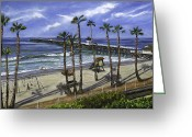 Waves Painting Greeting Cards - San Clemente Pier Greeting Card by Lisa Reinhardt