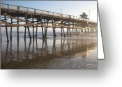 Clemente Greeting Cards - San Clemente Pier Greeting Card by Lynn Watters