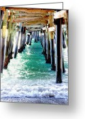 San Clemente Pier Greeting Cards - San Clemente Pier Greeting Card by Rosanne Nitti